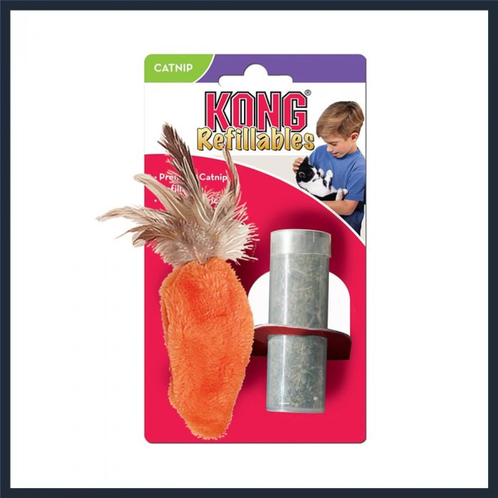 KONG Refillable Catnip Feather Top Carrot Toy