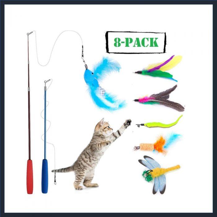 WINEECY 8 Piece Cat Feather Toy