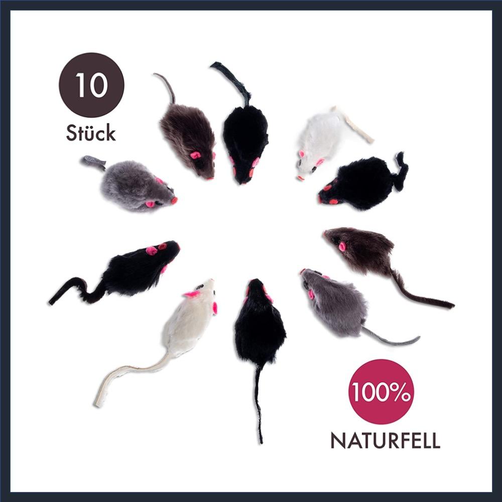 Natural Fur Mice Game 10 Pieces